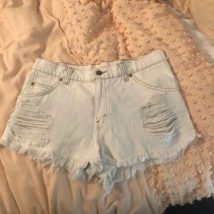LF distressed white shorts